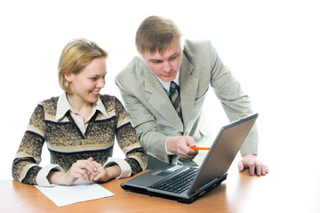 team businessman and woman work on laptop