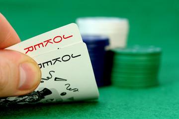 joker and poker chips