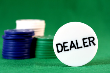 dealer and poker chips