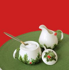 vintage christmas holiday creamer and sugar bowl set