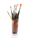 paintbrushes on a white background poster