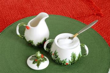 vintage christmas holiday creamer and sugar bowl