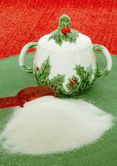 vintage christmas holiday sugar bowl