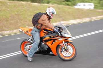 biker ready to speed off