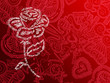 rose typos fond rouge
