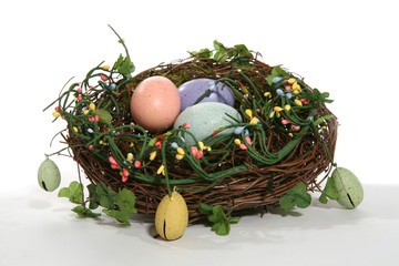 colorful easter nest