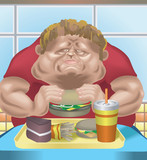 obese man in fast food restaurant poster