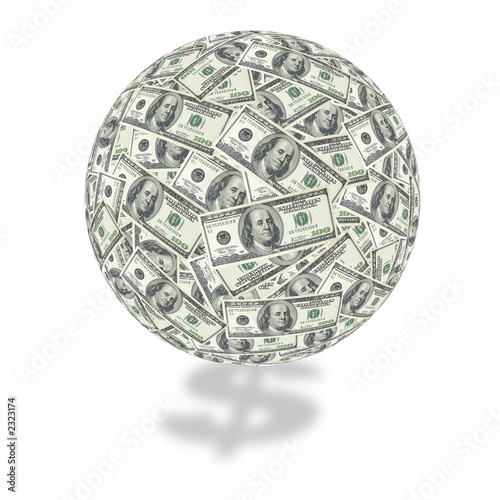 one hundred dollar bill globe