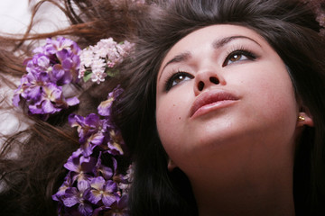 beautiful asian woman with flowers
