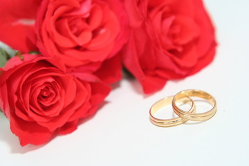 weddings rings with red roses