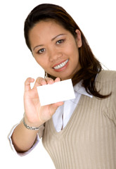 asian business woman showing business card