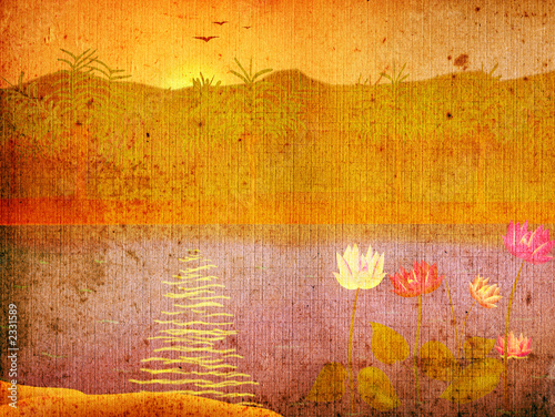 grunge landscape with flowers