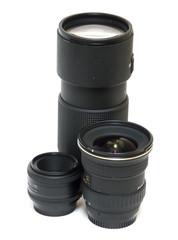 isolated lenses on white background