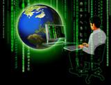 matrix globe man typing poster