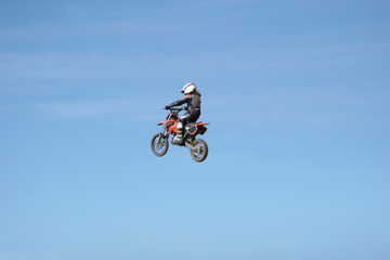 motorcycle flying in the air