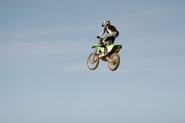 dirt bike flying in the air