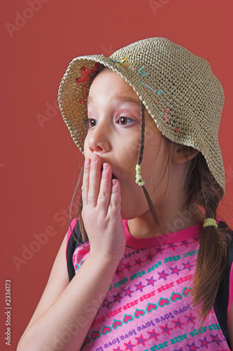 suprised girl with a hat