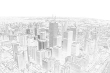 pencil drawing of a toronto city skyline