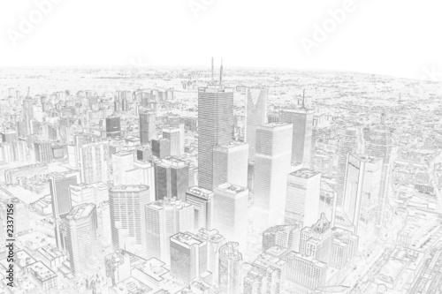 fototapete pencil drawing of a toronto city skyline. Black Bedroom Furniture Sets. Home Design Ideas