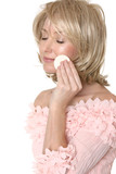 woman using makeup applicator poster