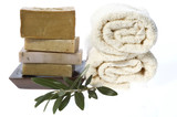 natural soaps with olive branch poster