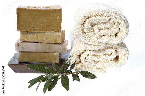 natural soaps with olive branch