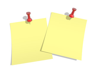 yellow paper  pinned to a white background with a red pushpin