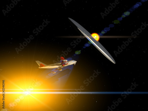 Foto op Canvas plane flying with ufo 30