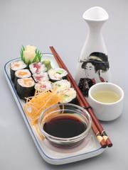 sushi variation mit sake wein