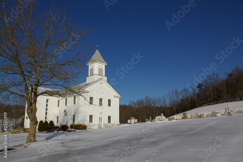 country church winter scene