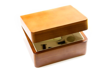half-open wooden box