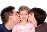 parents kissing their daughter poster