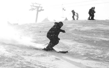 mountain ski rider bw
