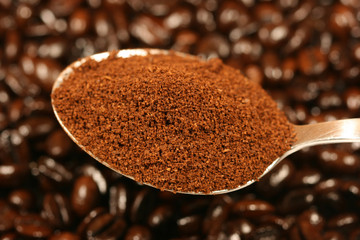 ground coffee on a spoon