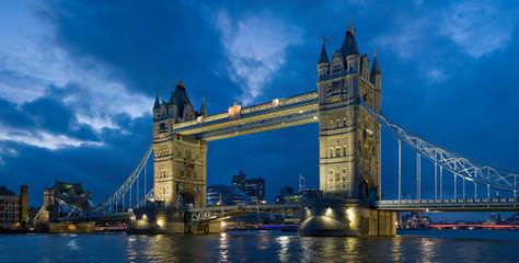 tower bridge at dusk in london, england