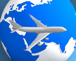 globe and plane