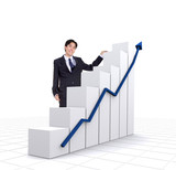 business entrepreneur with a graphics chart poster