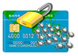 credit card with padlock opened and bugs front poster