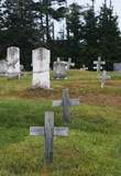 graveyard with crosses and headstones poster