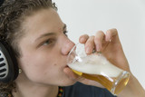 young boy is drinking alcohol poster