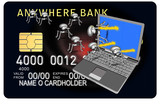 credit card bg with laptop and bug attack poster