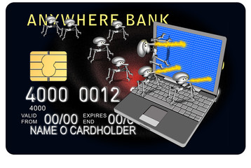 credit card bg with laptop and bug attack