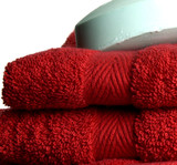 red towels and soap poster