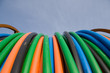 orange, blue, green telecommunication cables