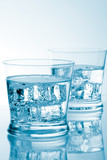 glasses of water with ice with copyspace poster