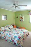 bedroom decorated in green tones poster