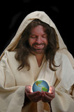 portrait of jesus holding the world poster