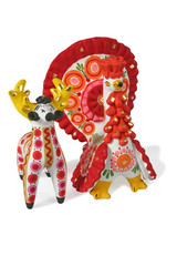 "russian traditional ""dymkovskaya"" toys - a deer and a turkey coc"