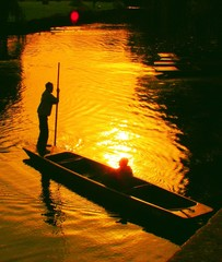 punting at sunset