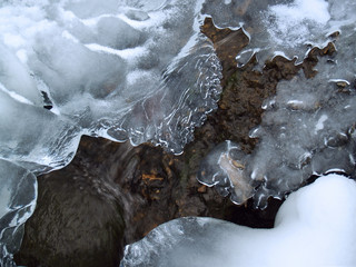 """winter"": icy mountain creek formations,  poconos"